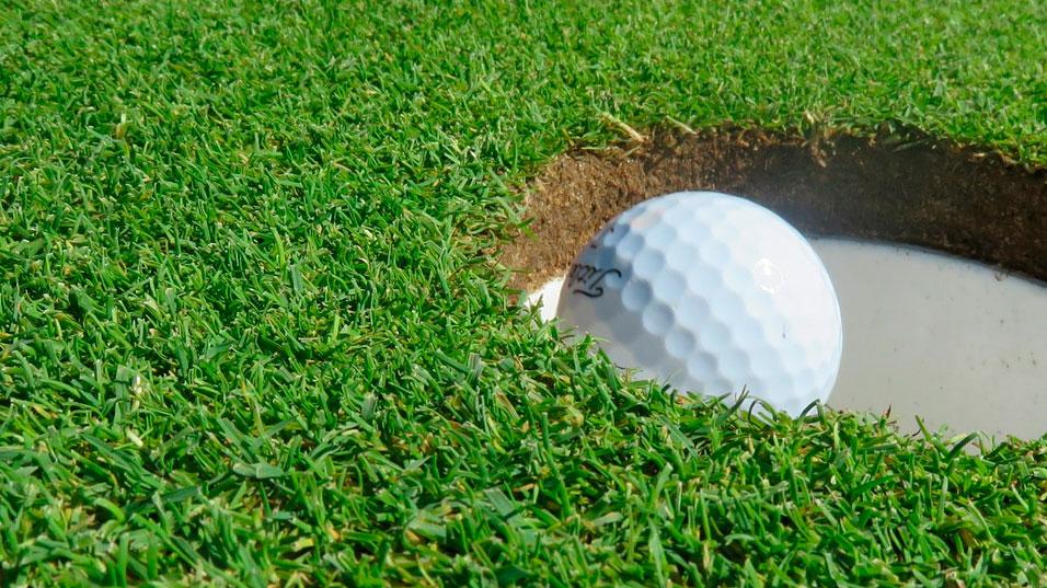 Gazon avec balle de golf